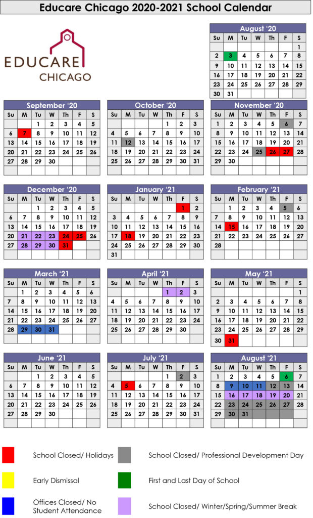 graphic of 2020 to 2021 school calendar for educare chicago